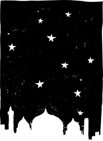 星やモスク、イスタンブールのスカイラインのような夜に。