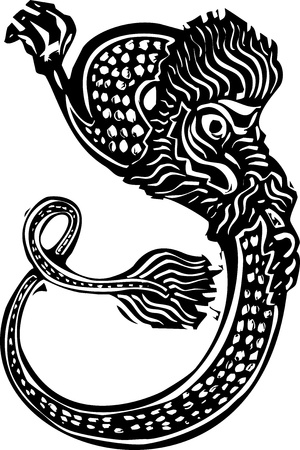 Woodcut style image of a curling Chinese dragon for the new year.