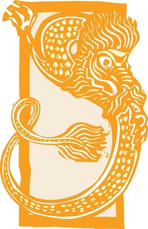 Woodcut stijl beeld van een curling Chinese draak voor het nieuwe jaar. Stock Illustratie