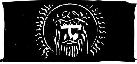 가시 왕관을 가진 예수님의 목 판화 스타일의 흉상.