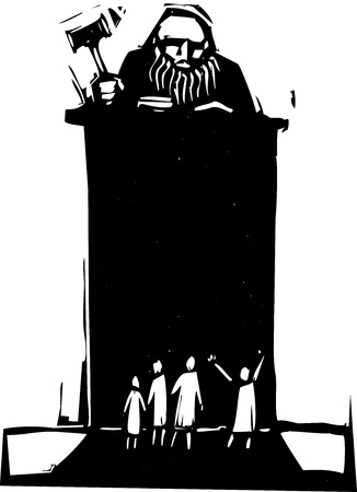 criminal: Woodcut style judge sitting atop his bench with crowd in front. Illustration