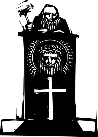 Woodcut style judge sitting atop his bench with religious iconography. Illustration