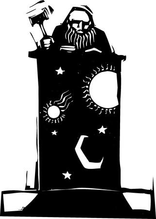 밤하늘의 이미지로 벤치 꼭대기에 앉아있는 목판 스타일 판사 일러스트