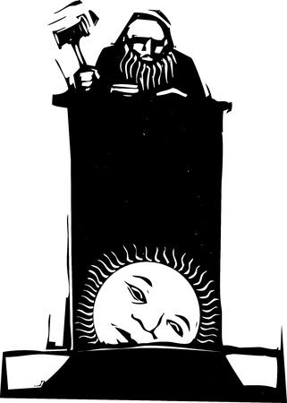 우드 컷 스타일의 판사가 떠오르는 태양과 함께 벤치 위에 앉아