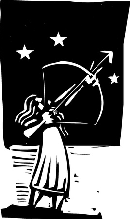 Man with a bow shooting an arrow into the night sky.