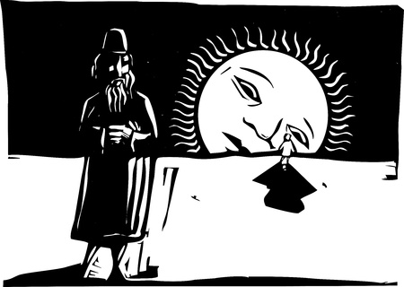 Man wearing a fez and standing away from another with the rising sun. Vector