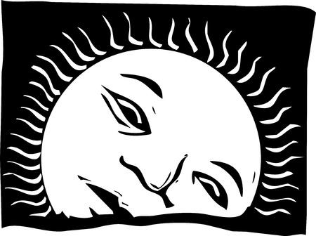 Image de style de gravure sur bois du soleil levant avec un visage. Banque d'images - 12230303