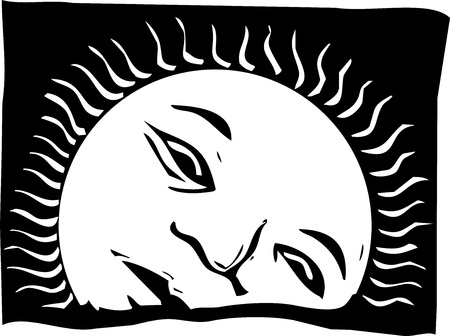 Woodcut style image of the rising sun with a face.