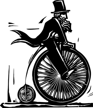 velocipede: Man in top hat on a velocipede bicycle. Stock Photo