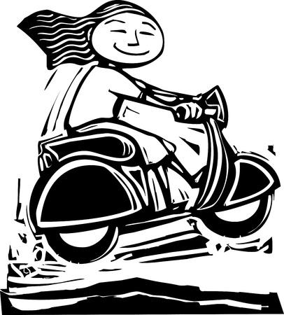 vespa piaggio: Fun immagine di una ragazza su uno scooter andare sui dossi.