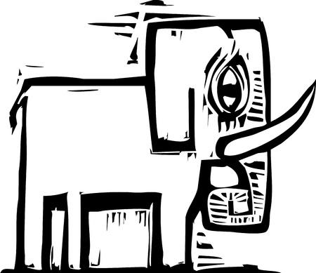 Single eenvoudig vormgegeven houtsnede stijl olifant met slagtanden