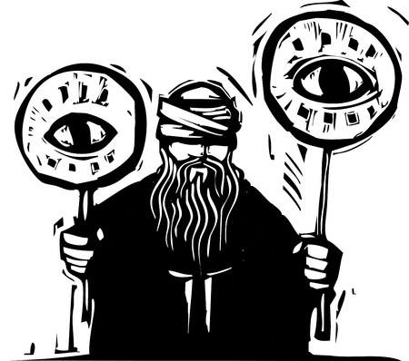 blind justice: Blindfolded man holds up signs with eyes on them. Illustration