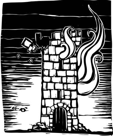 castle tower: A woodcut style castle tower keep burning down.