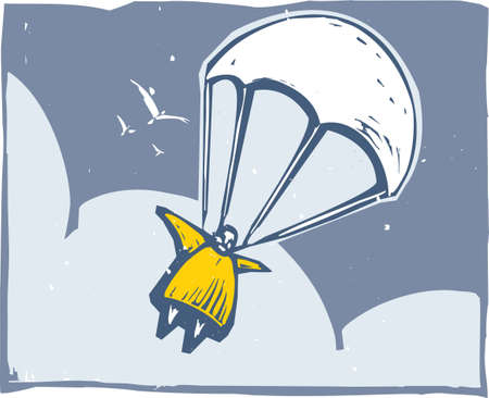 Very fat person parachuting through the sky after bailout.