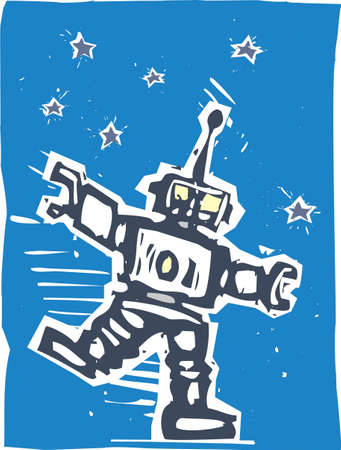 invasion: Big Robot dancing to some unheard music against night sky Illustration