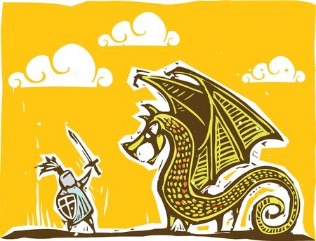Cavaliere in armatura con la spada combatte contro un drago