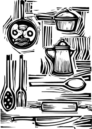 woodcut: A mixed set of pots, pans, forks and spoons for the kitchen.