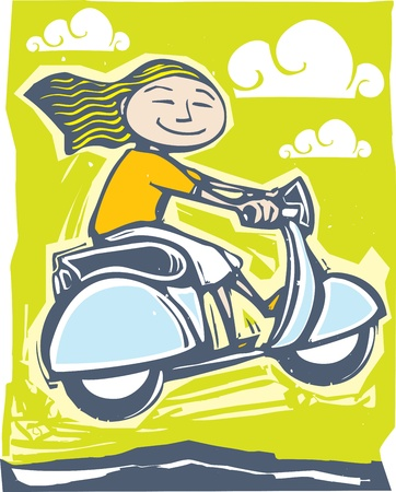 vespa: Fun image of a girl on a scooter going over bumps.