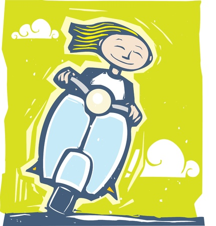Fun image of a girl riding on a scooter Illusztráció