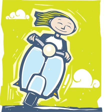 vespa piaggio: Fun immagine di una ragazza a cavallo su uno scooter Vettoriali