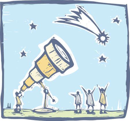 Man met telescoop spionnen een komeet aan de hemel. Stock Illustratie