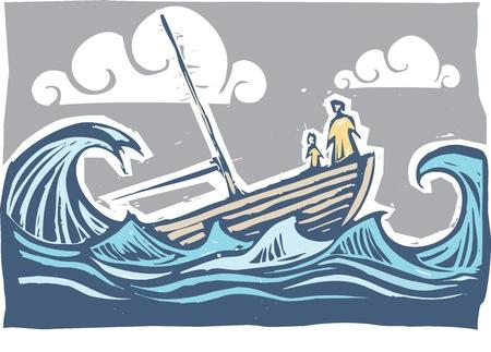 barca a vela: Barca con affondamento donna e bambino tra le onde