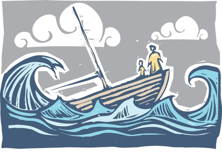 ocean storm: Boat with woman and child sinking in the waves