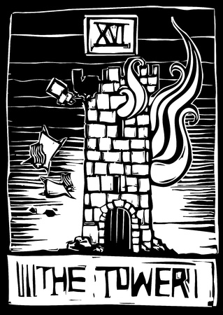 A woodcut style tarot card for the number 16 the tower.