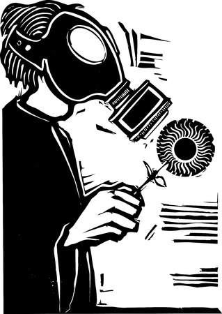 biochemical: Man in Gas mask holding a sun like flower