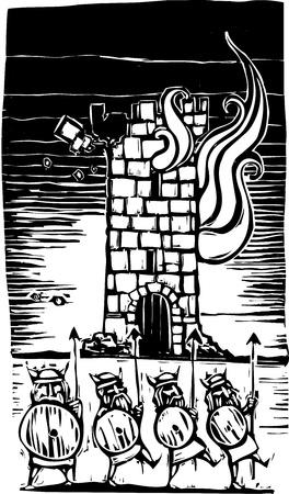 Linea di vichinghi di fronte ad una torre del castello in fiamme. Archivio Fotografico - 12484428