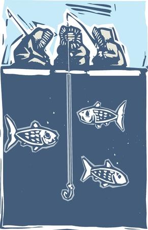 Woodcut style image of three inuit eskimo ice fishing. Иллюстрация