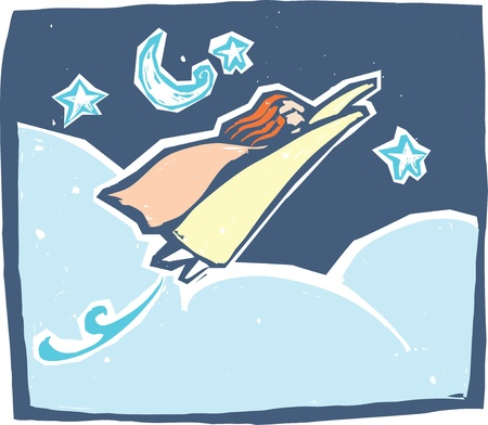 multitask: A super powered woman flies through the night sky.