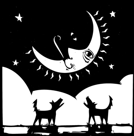 Two lonely dogs howling at a crescent moon with a face  Illusztráció