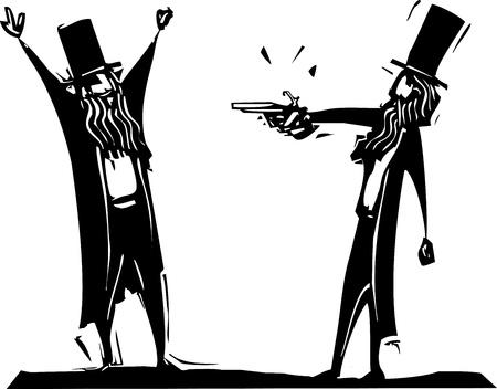 beroofd: Afbeelding houtsnede stijl van twee Victoriaanse heren met een wordt beroofd