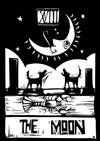 Woodcut style Tarot card for the moon