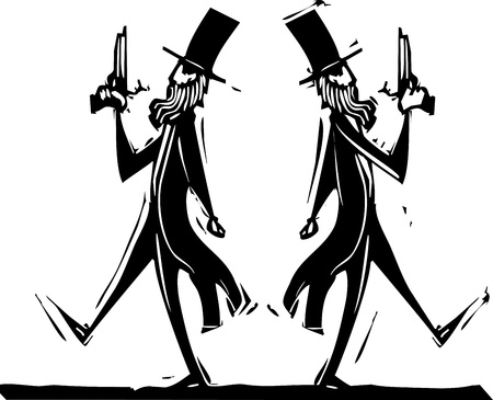 Two Victorian gentlemen with pistols in a dual