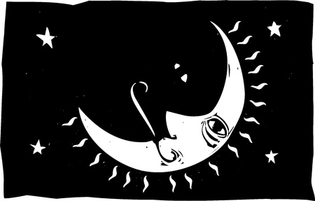 Simple woodcut image of a crescent moon with a face in the night sky  Stock Vector - 12484603
