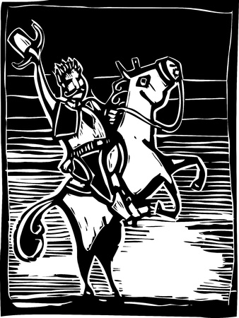 Western image of an American Cowboy on a horse in woodcut style