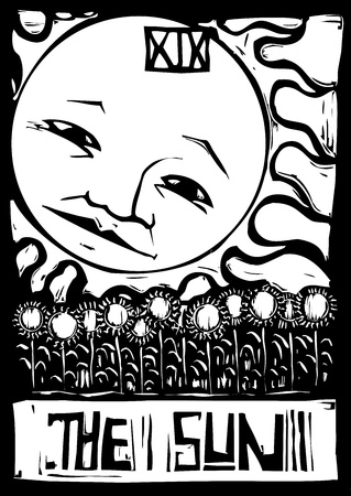 Tarot number nineteen the sun with face and sunflowers  Illustration