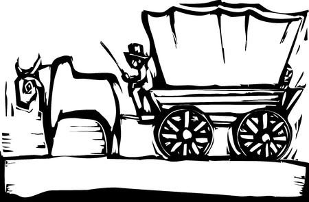 Western woodcut style image of a covered wagon and ox  Ilustração