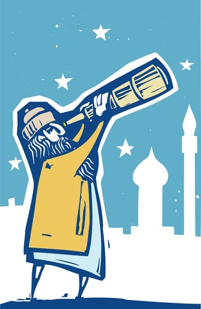Islamic man with a telescope scans the sky