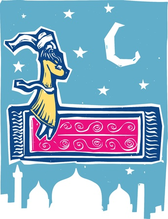 Man on flying carpet over middle eastern city  Vector