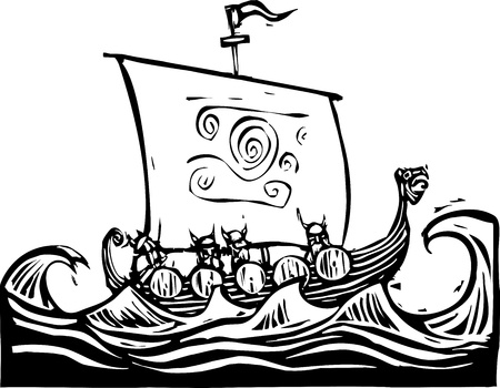 Woodcut image of a viking longship on the ocean