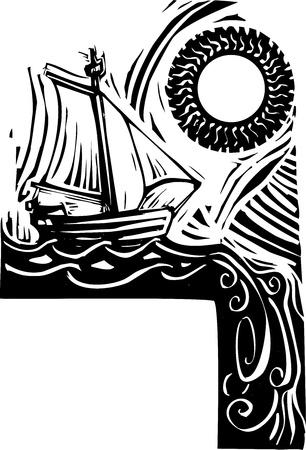 Pequeño velero navega por el borde del mundo Foto de archivo - 13164014