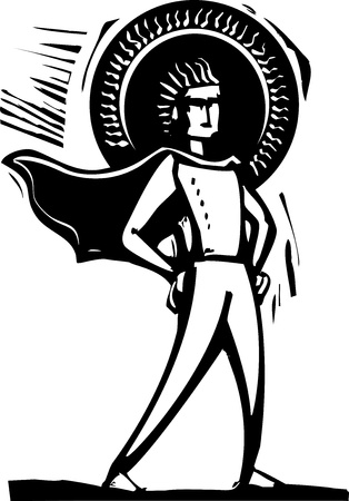 Woodcut style superhero with a cape and halo  Illustration