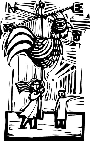 woodcut: Weather vane in the shape of a rooster being held up by a small girl  Illustration