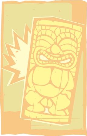 木版画印刷スタイル レトロなポリネシア ティキ