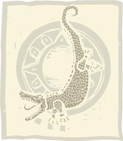 악어와 원의 목판 인쇄 스타일 이미지