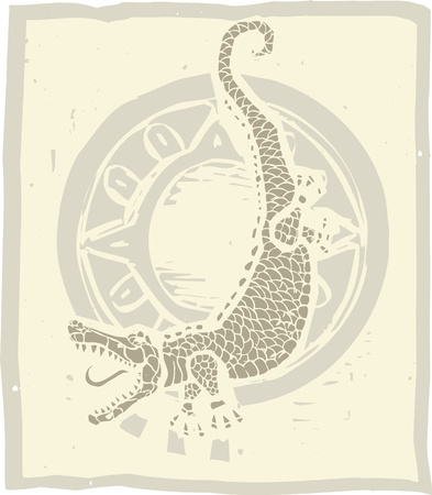 Woodblock print style image of an alligator and circle