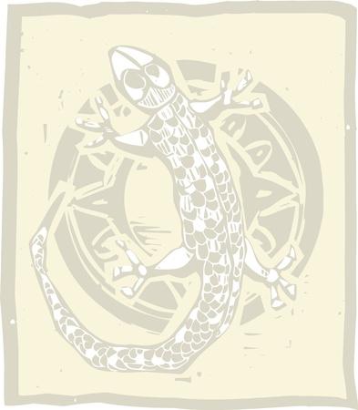 도마뱀과 원의 목판 인쇄 스타일 이미지 스톡 콘텐츠 - 13164019